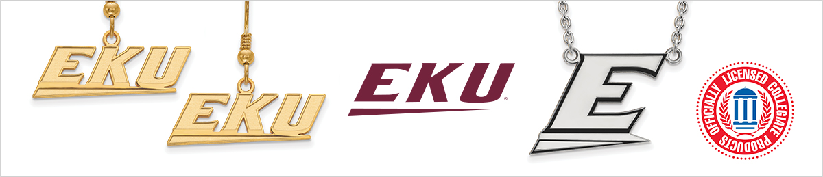 Sterling Silver Eastern Kentucky University Medium Pendant by LogoArt